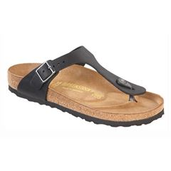 Birkenstock Gizeh, sort l�der (normal)