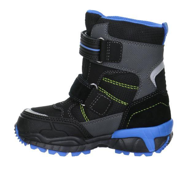 80fd7d1fc600 Seje og praktiske sorte   lyse blå vinterstøvler fra Superfit - udviklet i  samarbejde med ortopæder og læger. Støvlen er i nylon og har  Goretex-membran
